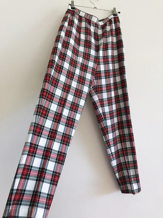 vintage high waist tartan red white green check p… - image 2