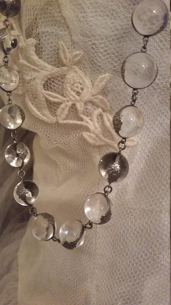 Antique Rare Crystal  Oribe Art Deco Sphere Neckla