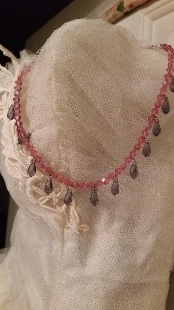Vintage Swarovski Crystal Necklace Vivid Pink And