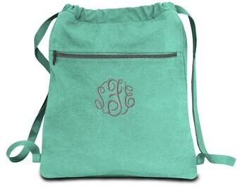 2e6971f5e536 Monogrammed Cinch Bag String Backpack Cinch Sack Cinch Bag Cinch Backpack  Gym Bag Canvas Drawstring Bag Back to School Teen Girl Gift