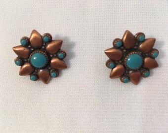 Copper Bell clip on earrings