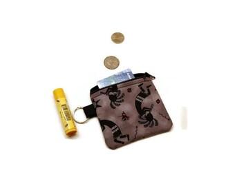 Kokopelli zippered coin purse pouch.