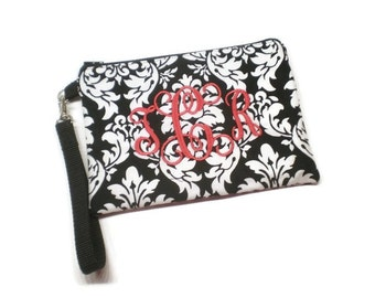 Monogrammed black and white Damask zippered iPhone 6 plus wristlet wallet, personalized clutch wristlet phone purse. Monogram gift for her