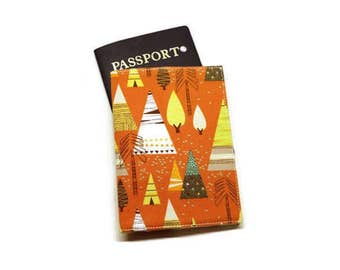 Trees theme passport holder, case, cover. Monogramming available. Orange.