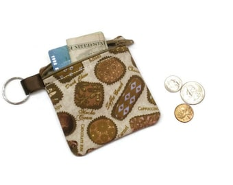 Chocolate coin purse, zippered coin purse, coin purse keychain, change purse, coin pouch, coin bag, chocolate lover, under 10 gift