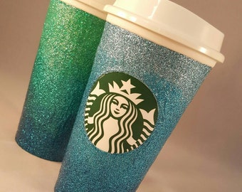 Ombré Glitter Starbucks Cup, custom color travel coffee mug.