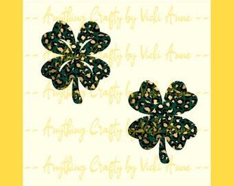 10 45x31mm platinum silver 4 leaf clover prints