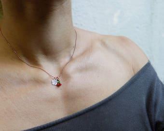 Choker necklace Rose Gold cherry blossom