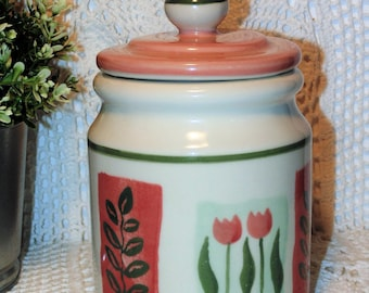 Hartstone Pottery Canister Jar, Hand Painted Tulip Design, Coffee Tea or Cookie Canister, 1983 Vintage Pottery, Kitchen Storage Container
