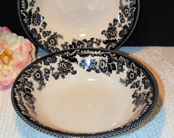 2 Spode Soup or Salad Bowls, Delamere Black Pattern, White With Black Florals, Black and White, Elegant Dinnerware, Spode