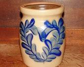 Salt Glazed Crock by Beaumont Brothers Pottery BBP, Vintage Kitchen Jar With Cobalt Blue Floral Heart Motif, Primitive Home Decor, Roseville