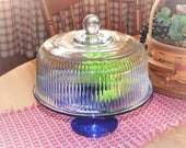 Covered Cake Stand, Cobalt Blue Base, Clear Ribbed Dome Lid, Anchor Hocking Monaco, Vintage Pedestal Serving Platter, Weddings or Everyday