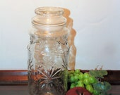 Glass Canister Jar With Flowers, 1980 Mr. Peanut, Peanut Man Embossed Bottom, Anchor Hocking Glass, Vintage Kitchen Storage Jar