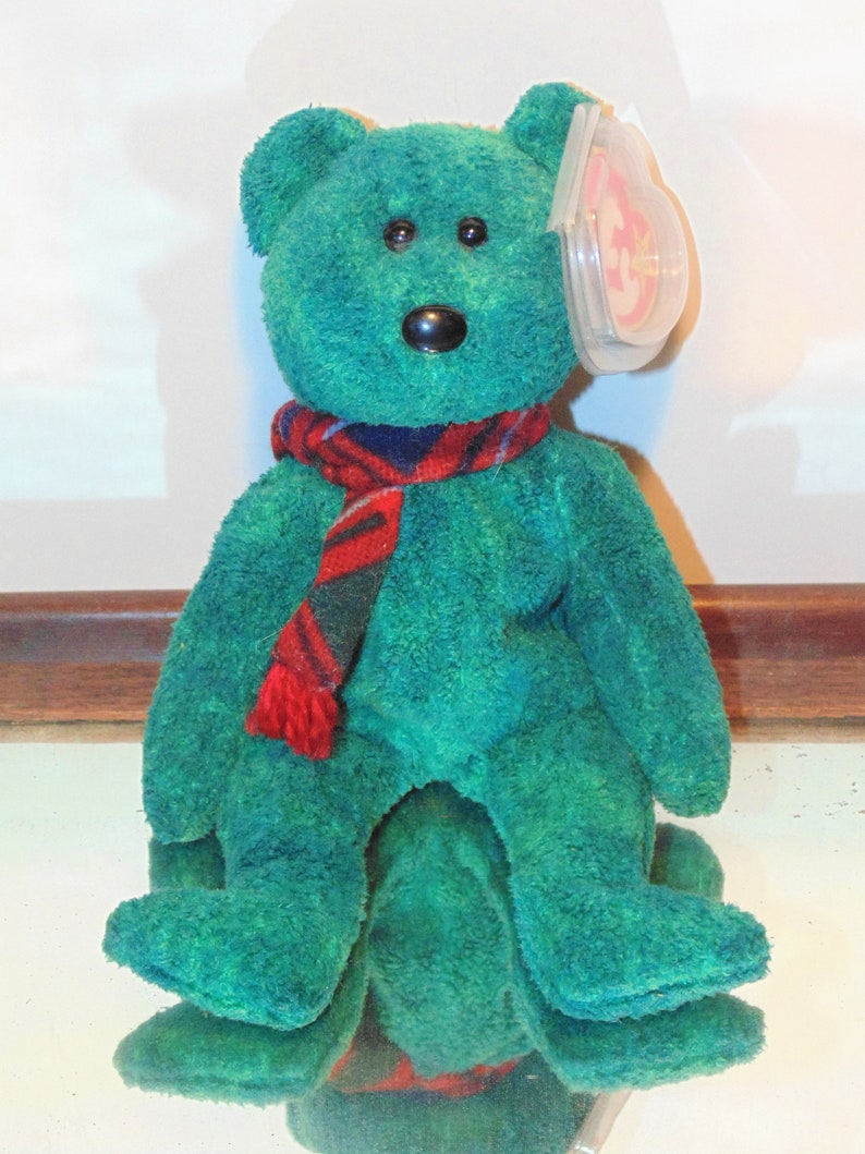 657ddf8cdd2 Wallace The Bear Ty Beanie Baby Green and Blue Variegated