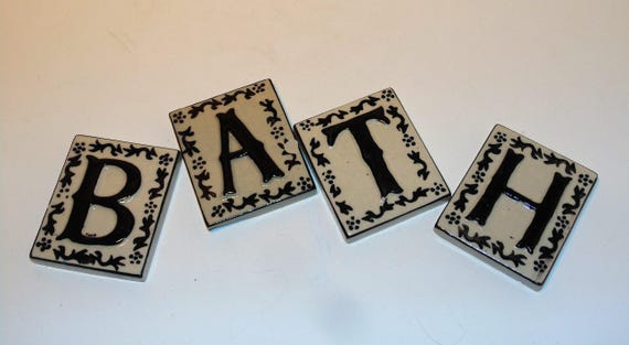 40 Ceramic Letter Tiles Crafting Tiles B A T H Letters Etsy Awesome Decorative Letter Tiles