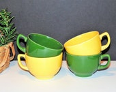 Carnival Coffee Cups by Homer Laughlin, Yellow and Green, Fiesta Ware Look-A-Like, Vintage Tea Cups, Farmhouse Kitchen