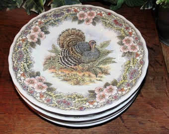 6 Queenu0027s Myott Factory Thanksgiving Turkey 8u201d Salad Plates Transferware Plates Thanksgiving Dinnerware Multicolor Tom Turkey Design & Turkey dinnerware | Etsy