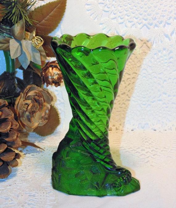 Green Art Glass Vase Cornucopia Vase Swirled Glass Bud Vase Etsy