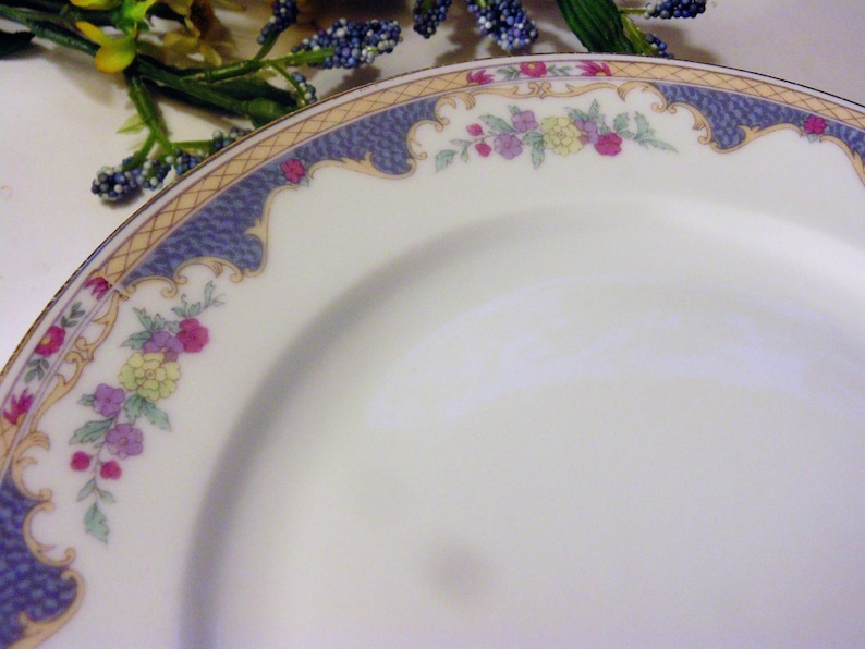 Set of 5 Dinnerware Replacements Royal Bayreuth Corona Pattern Made In Bavaria Blue Tan and Pink Border With Flowers Vintage Salad Plates