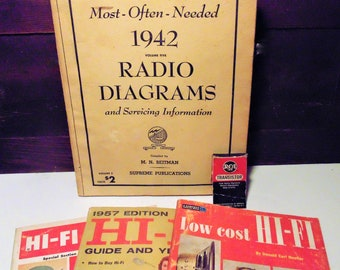 Old Radio Hi-Fi Magazines, Vintage Radio Information, Collectible Ads, Back Issue Magazines, RCA Transistor, Reference Books