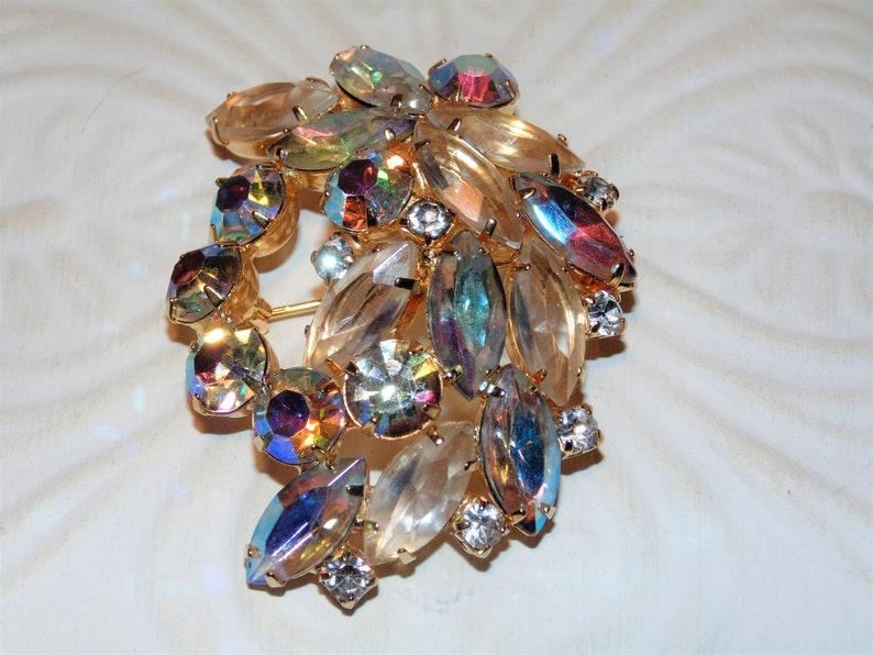 Mid-Century Jewelry Coat Pin Vintage Costume Jewelry Gold Tone Metal Rainbow Rhinestones Aurora Borealis Estate Brooch