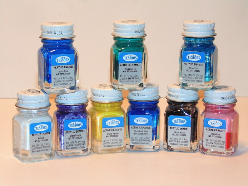 Acrylic Enamel Paint >> Testors Acrylic Enamel Craft Paint In Glass Bottle With Metal Lids Staging Crafting Touch Ups Painting Ceramics Wood Plastics Set Of 9