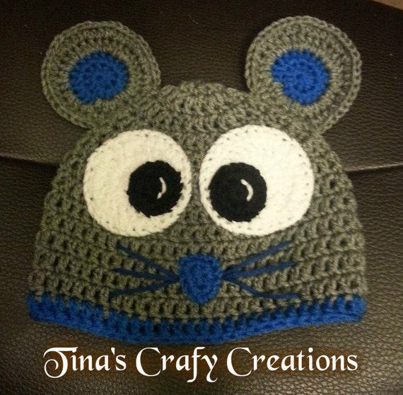 Crochet Mouse Beanie, Cute Mouse, Photo Prop, Photography Prop, Mouse Ears  Hat, Handmade Hat, Happy Mouse, Winter Hat, Halloween Costume,