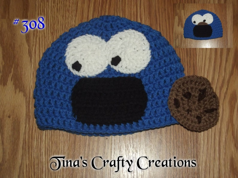 b20ad10a528 Cookie Monster Crochet Hat Photo Prop Photography Prop