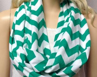 GREEN  & White Chevron Print  Infinity Scarf   Jersey Knit gift ideas
