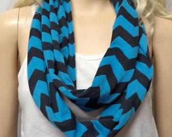 Turquoise Blue  & Black  Chevron Print  Infinity Scarf   Jersey Knit