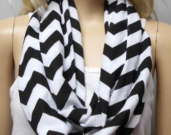 Black  & White Chevron Print  Infinity Scarf   Jersey Knit Gift Ideas
