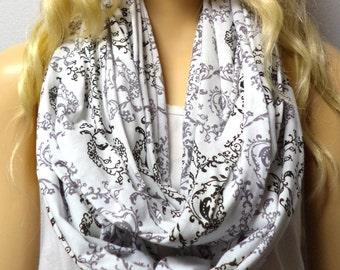 Victorian Print --White-Gray-Black --Infinity Scarf Jersey Knit