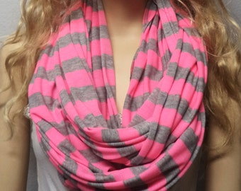 NEON Pink  & Gray Stripes  Infinity Scarf Super Soft Knit gift ideas