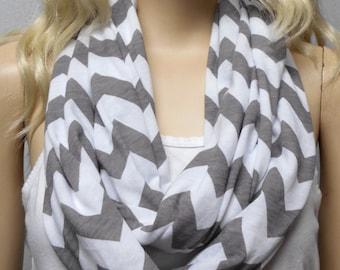 White & Gray Chevron Print  Infinity Scarf Jersey Knit Gift Ideas