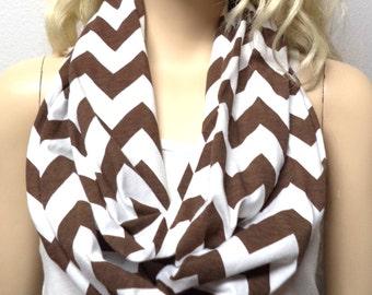 BROWN  & White Chevron Print  Infinity Scarf   Jersey Knit Gift Ideas