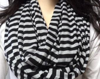 Black  & Gray Stripes  Infinity Scarf Super Soft Knit