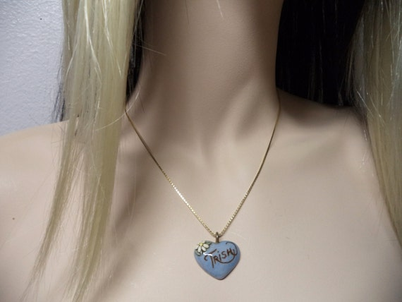 Kathie----Vintage Ceramic Heart Name Pendant for Necklace Jewlery Accessories Gift Ideas