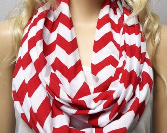For Rachel......RED & White Chevron Print  Infinity Scarf   Jersey Knit Gift Ideas