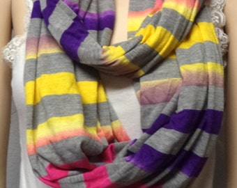 Colorful Ombre  Stripes  Infinity Scarf Jersey  Knit Mens Women gift ideas