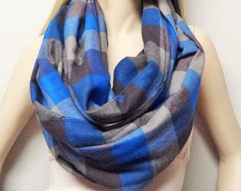 Buffalo Plaid Cotton Flannel Infinity Scarf Blues and Grays  Soft Comfy Long and Wide Mens Womens Accessories Gift Idea