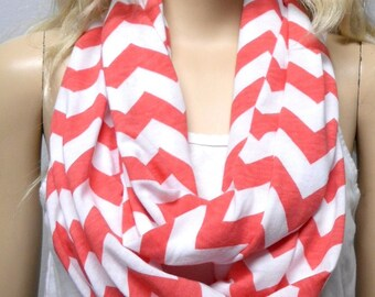 CORAL  & White Chevron Print  Infinity Scarf   Jersey Knit Gift Ideas