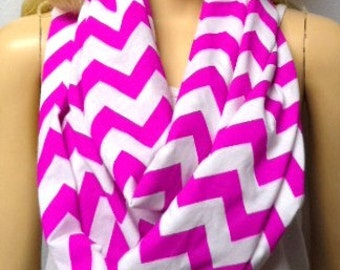 Poppin Fushia Pink & White Chevron Print  Infinity Scarf   Jersey Knit