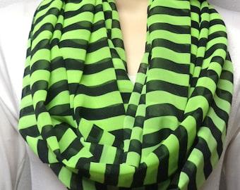 Neon Lime Green & Black Stripes----- Infinity Scarf