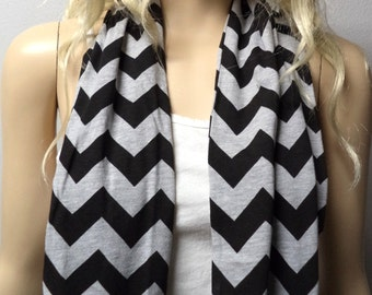Heather Gray & Black  Chevron Print  Infinity Scarf   Jersey Knit