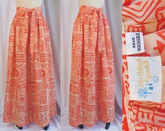 471a8f190a John Meyer of Norwich Maxi Skirt ~ 60s Mod Geometric Print Ankle Length  Wrap Around Hippie Skirt ~ Boho Chic ~ Very Good+ Condition ~ S/M