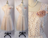 1940s Dress 40s Cream Chantilly Lace Party Dress w Flower Original Belt Full Skirt w Pleating Fit Flare Excellent Condition L