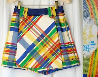 589dc2391b John Meyer of Norwich Skort ~ 60s Red Blue Yellow Plaid Schoolgirl Mini  Shorts/Skirt w Belt ~ Preppy Chic ~ Excellent Condition ~ Size XXS