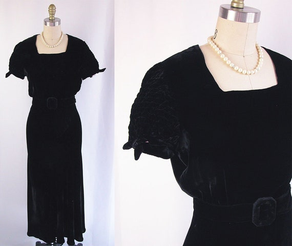 1930s Velvet Dress Gown ~ 30s Ink Black Silk Velvet Ankle Length Dress W Matching Belt ~ Shirred Tied Sleeves ~ Very Good Condition ~ Small by Etsy