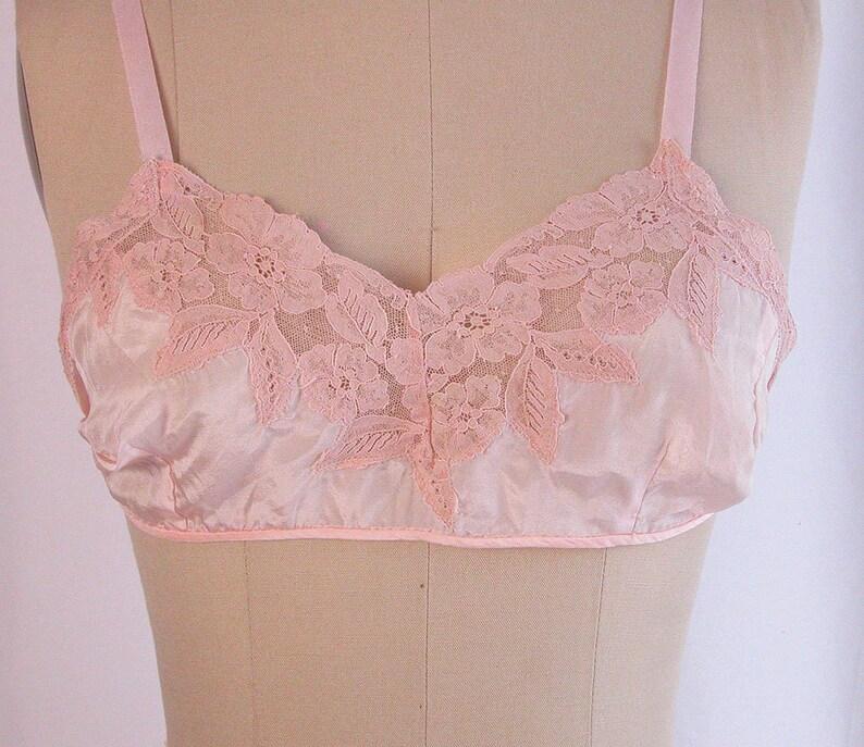 3d9564071ee518 1920s Bra 20s Pink Silk   Alencon Lace Flapper Bralette