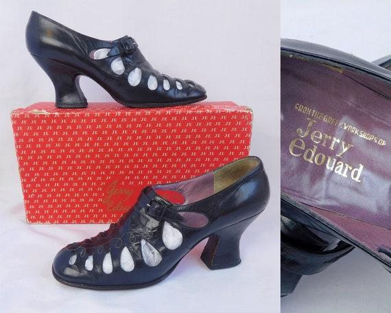 Jerry Edouard Shoes ~ 60s Mod Black Leather Buckle